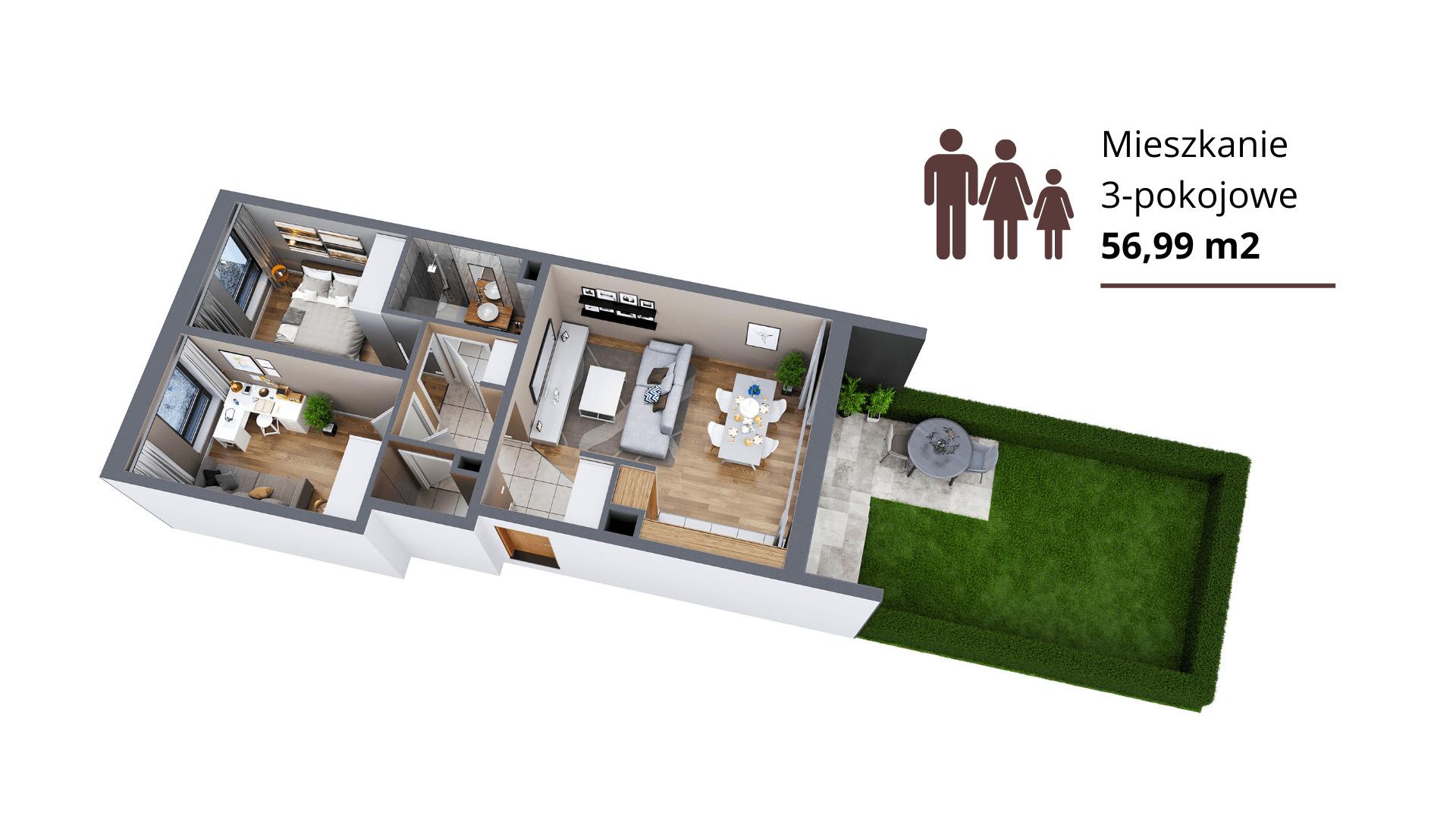 2. Mieszkanie 3-pokojowe